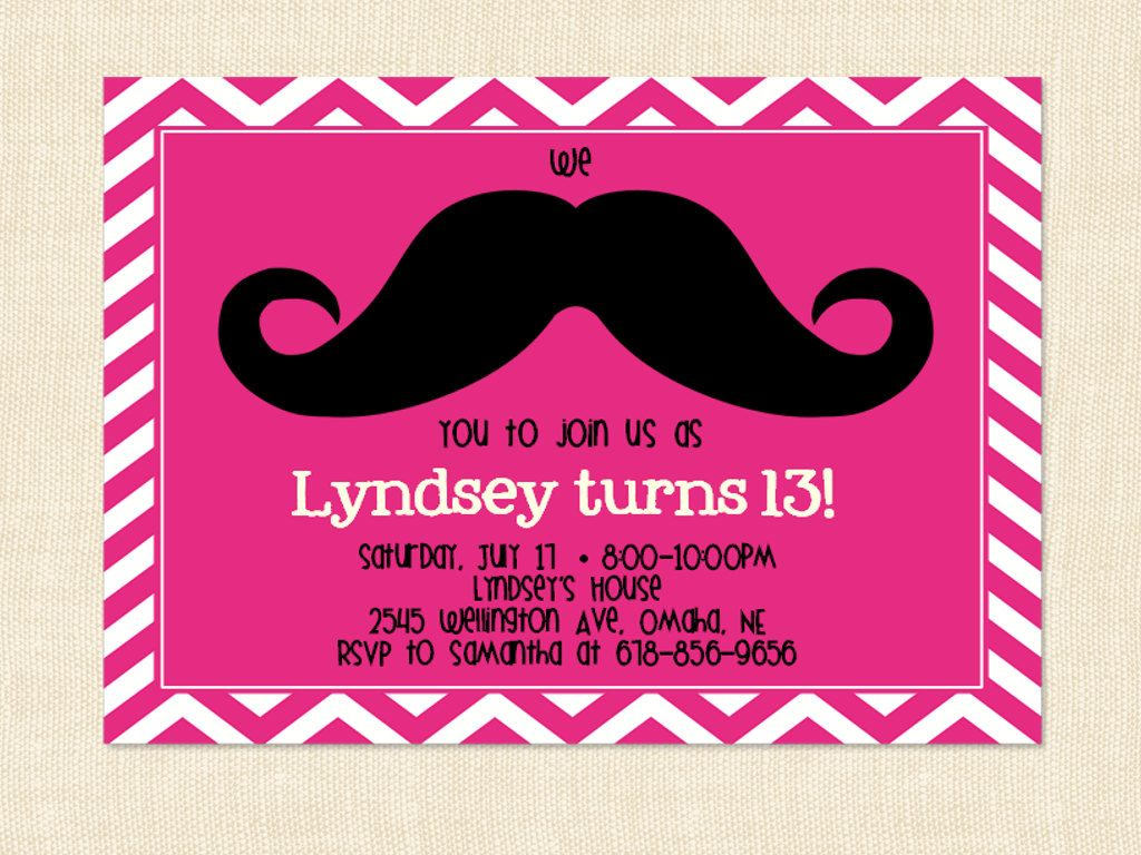 Girl Mustache Birthday Invitation Teen moustache printable chevron – Teenage Girl Party Invitations