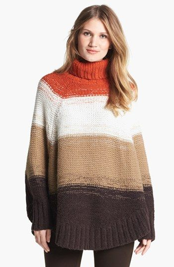 MICHAEL Michael Kors Stripe Turtleneck Poncho Sweater available at ...