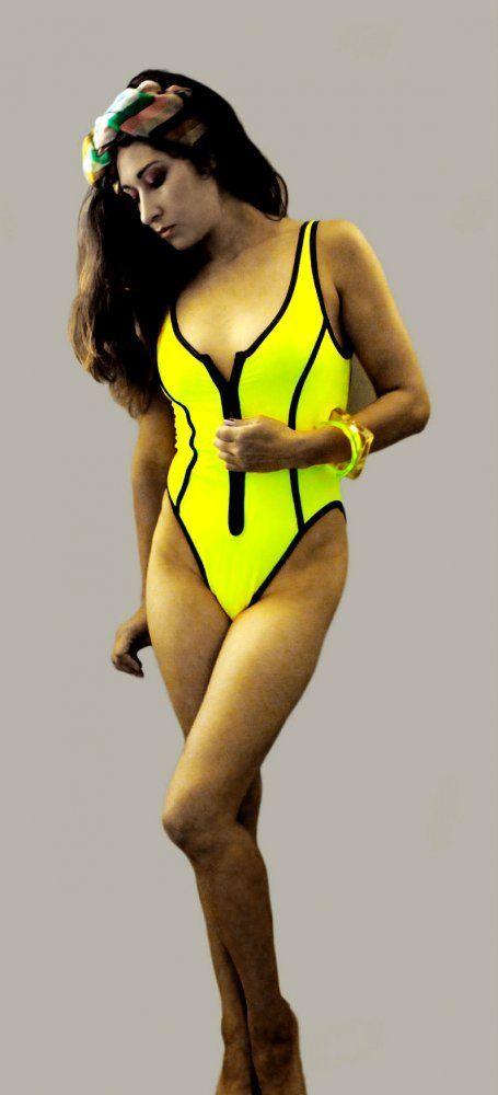 08e42b5e0c I had this suit in hot pink.. Vintage 90s 80s Body Glove NEON yellow zipper  swimsuit one piece