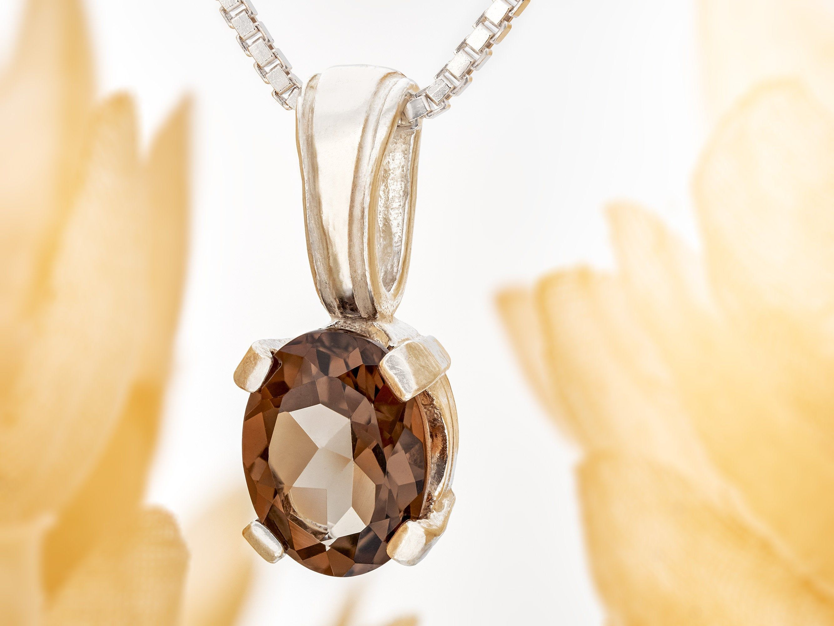 Smoky Quartz necklace from Brazil! 8x6mm oval, natural, medium Grade AA brown Brazilian gemstone in a 6-Prong, Silver Pendant. Chain Options