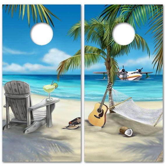 Beach Scene Cornhole Board Decal Vinyl Wrap Baggo Bean Bag Etsy Beach Scene Wallpaper Beach Scenes Beach Wallpaper