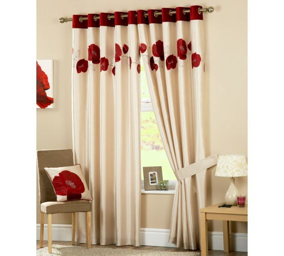 Buy Danielle Lined Eyelet Curtains 117x183cm Red At Argos Co Uk