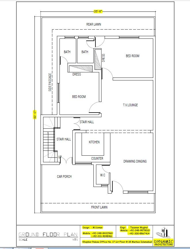 House Plan Drawing Size 35x60 Islamabad