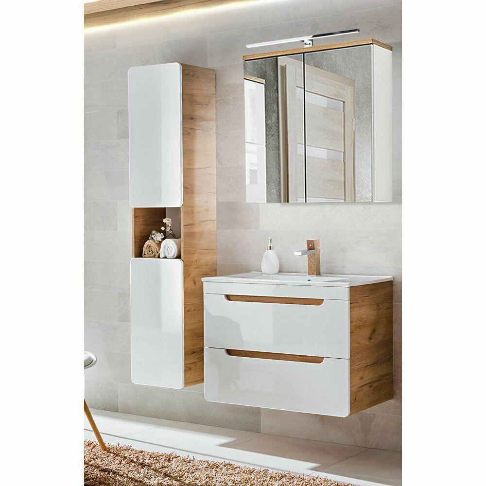 Badezimmer Badmobel Komplett Set Waschtisch Spiegel Hochschrank Hochglanz Weiss Ebay In 2020 Hochschrank Badezimmer Mobel Hochglanz