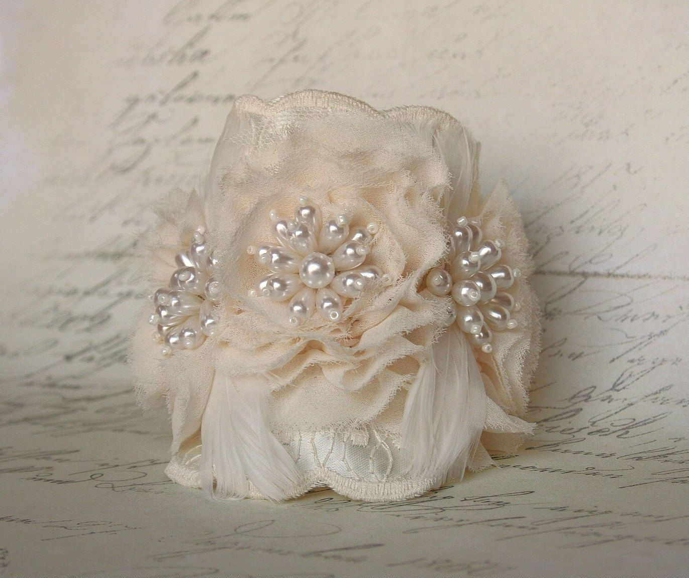 Wedding Bracelet, Bridal, Wedding, Jewelry, Bracelet, Cuff, Ivory, Lace, Feather, Pearl. $48.00, via Etsy.