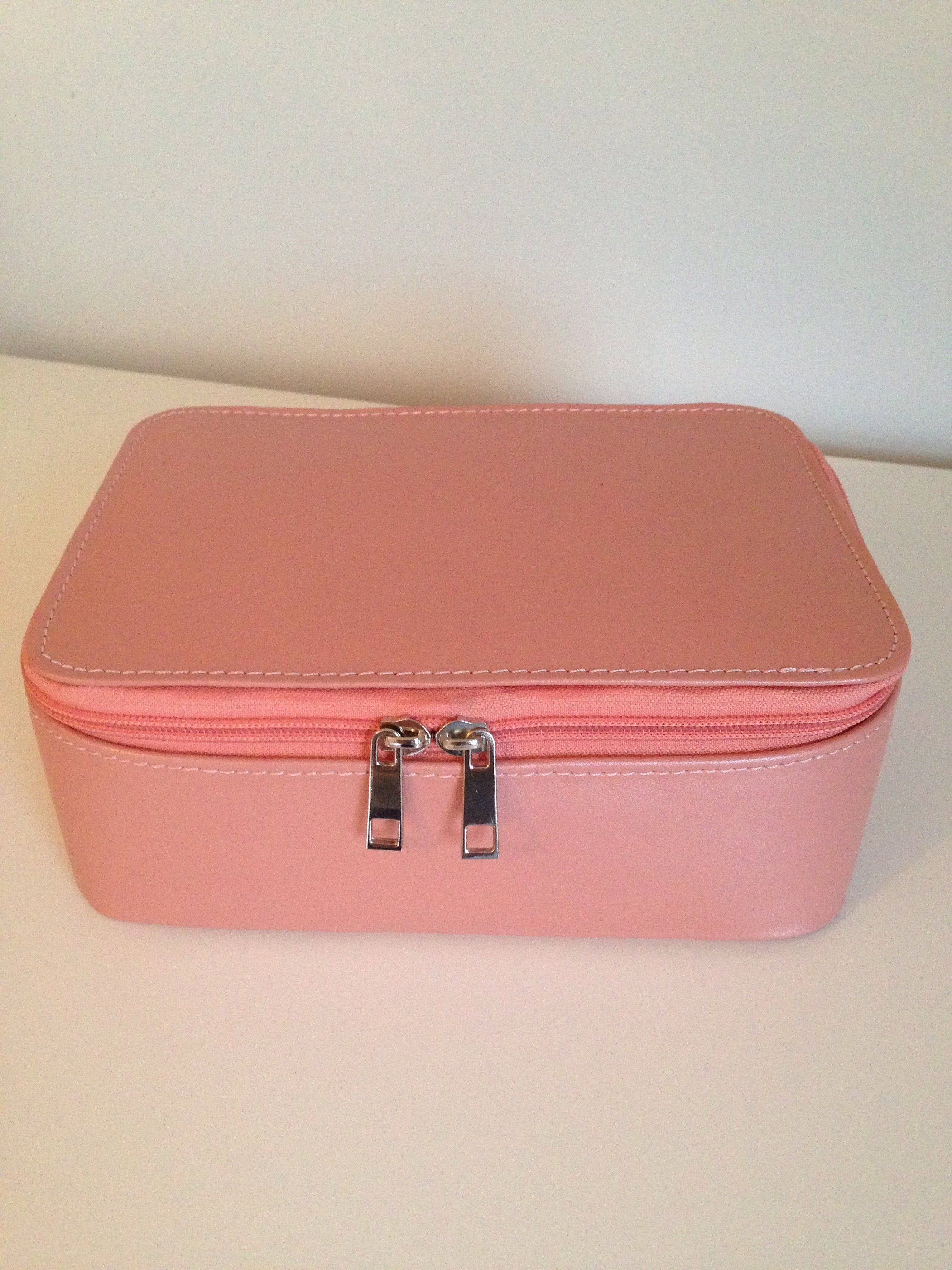 Pink Leather Makeup Case Leather Cosmetic Bag Leather Vanity