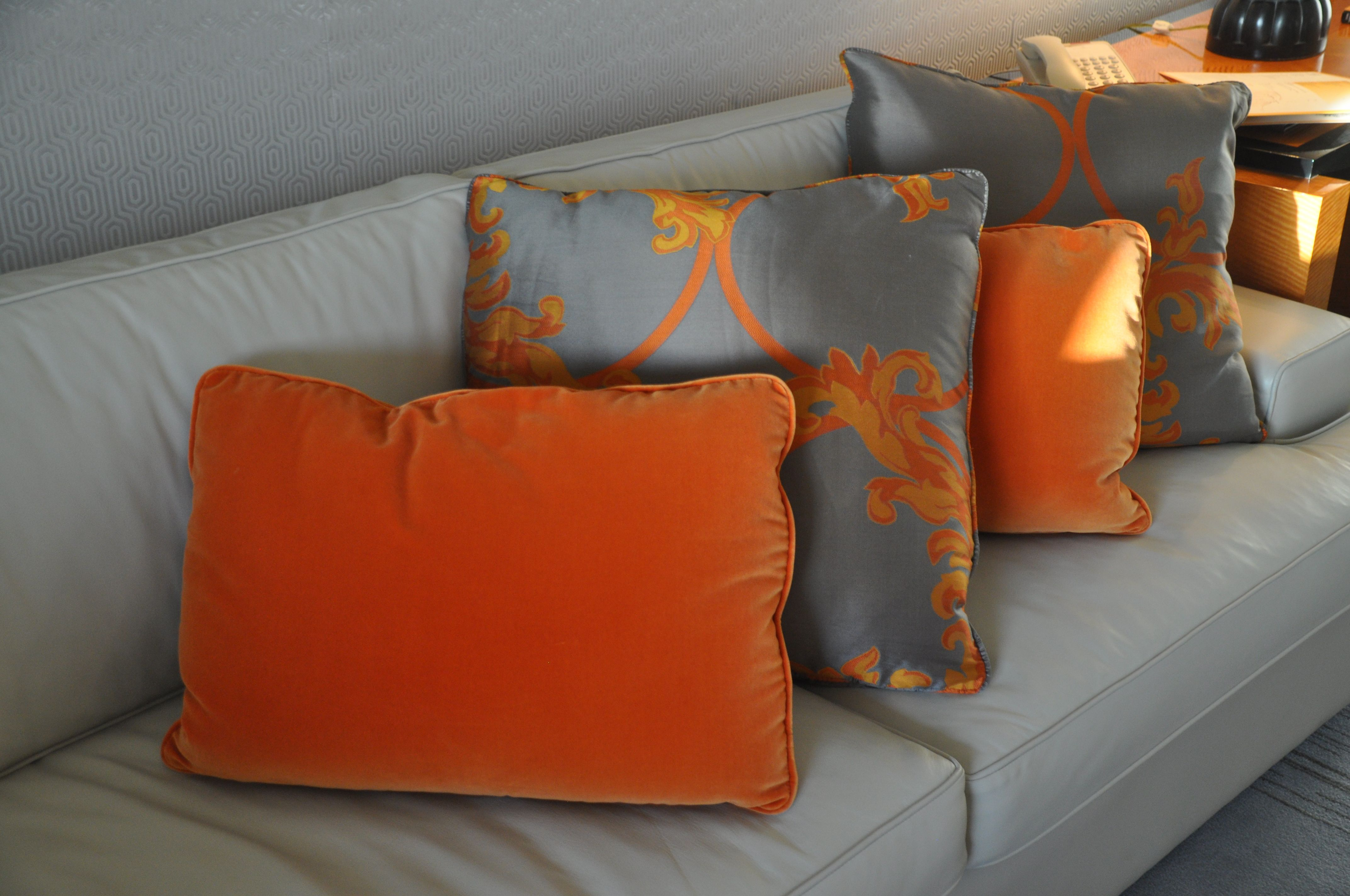 Love the combination of orange u gray in the newly updated rooms at