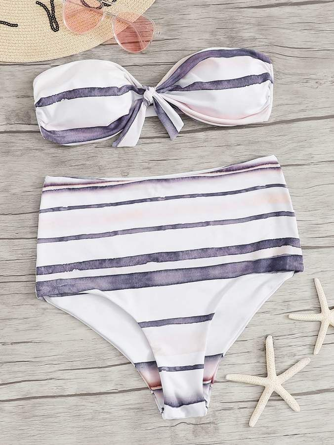 602329f95b Shein Striped Knot Front Bandeau With High Waist Bikini Set in 2019 ...