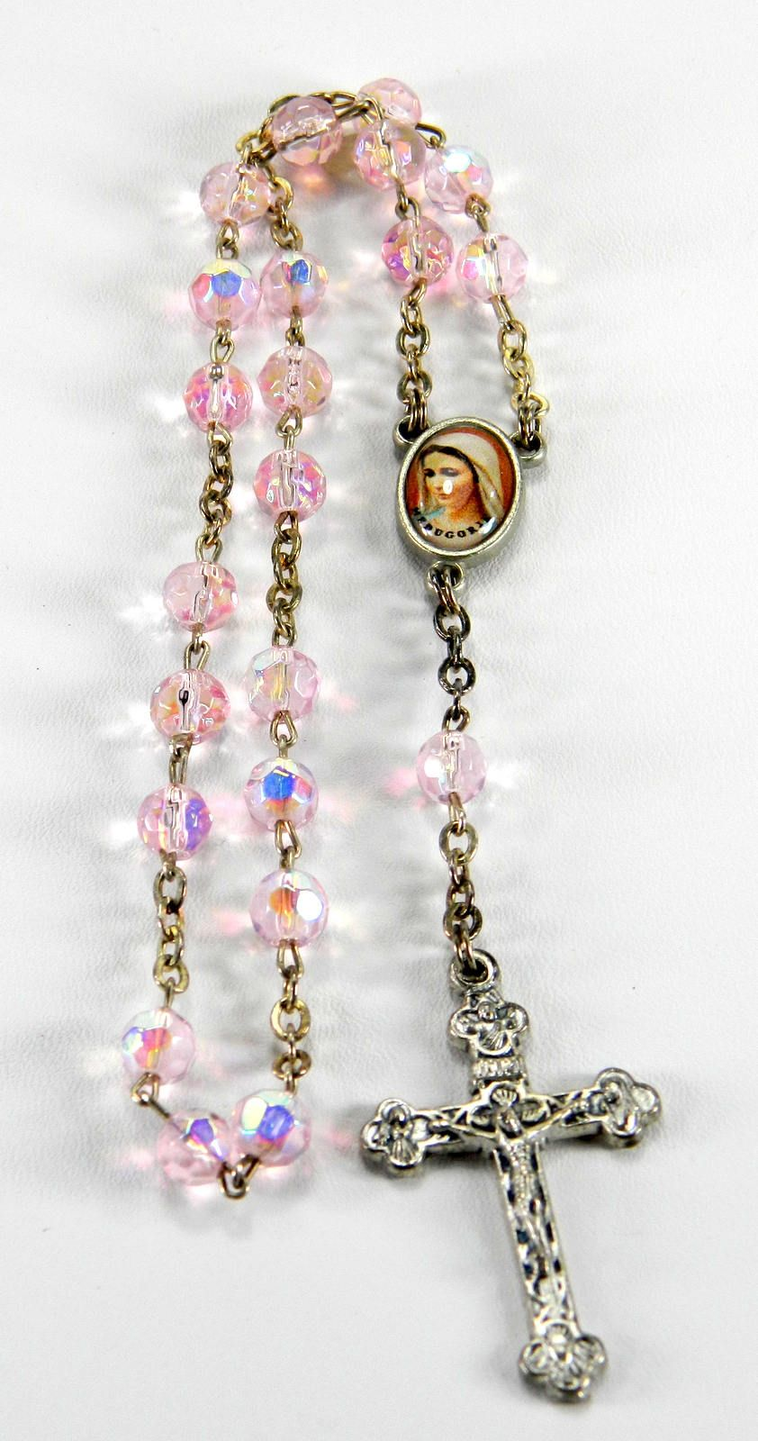 Vintage french 1960/'s glass Rosary with St Benedict Medal
