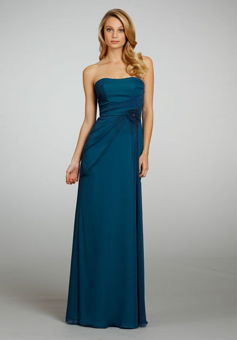 Chiffon A line Strapless With Ruching Floor Length ...