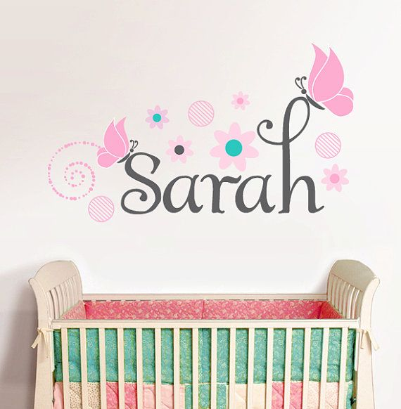 Personalized Name With Butterflies Sarah Custom Nursery Vinyl - Personalized custom vinyl wall decals for nursery