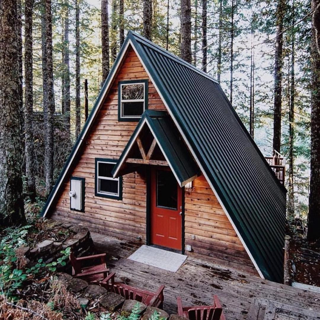 Amazing Concrete House Plan For A Rustic Forest Home In: How About This #minimalist #aframe #cabin Thats #lost In