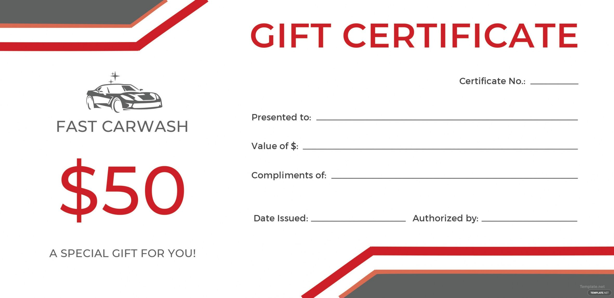 Car Wash T Certificate Template