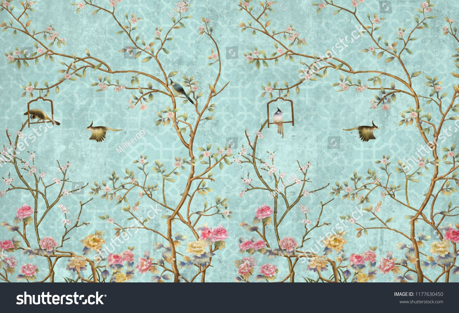 3d Wallpaper Design With Little Flowers And Birds For Photomural Design Wallpaper Flowers Photomural Floral Wallpaper 3d Wallpaper Design Mural Wallpaper