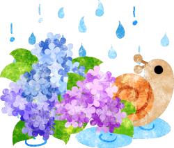 フリーのイラスト素材「可愛いかたつむりと紫陽花と雨」 Free ...