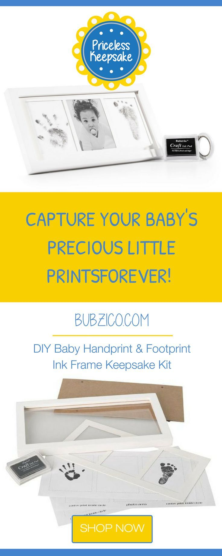 Diy baby handprint and footprint ink frame keepsake kit baby