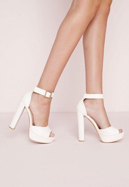 59fb7221d5 Platform Heeled Sandals White Croc - Shoes - Missguided | Shoes ...