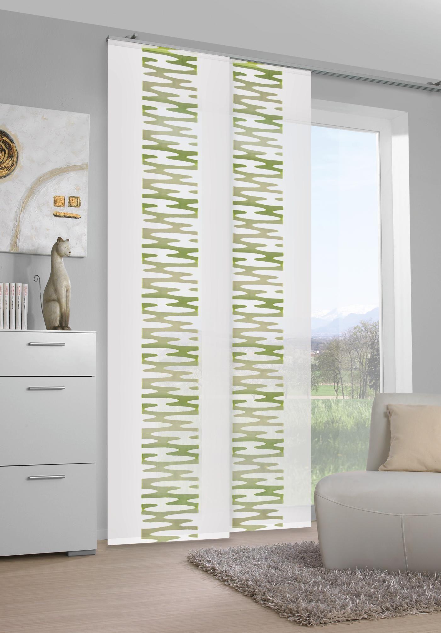 Blickdichter Vorhang mit grünem Muster von VENDA | Vorhänge | Pinterest