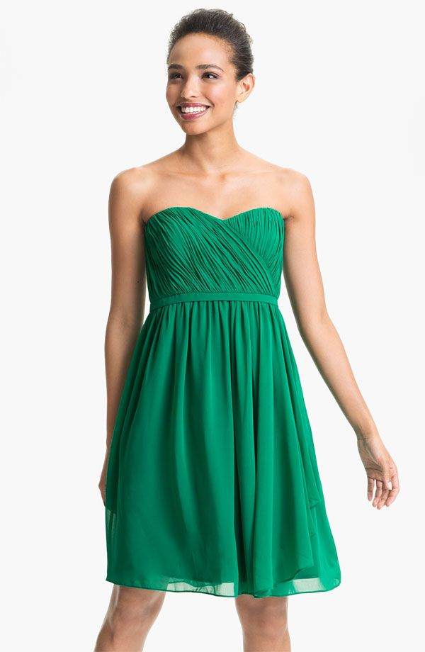 Strapless green bridesmaid dress. Different green would be good ...