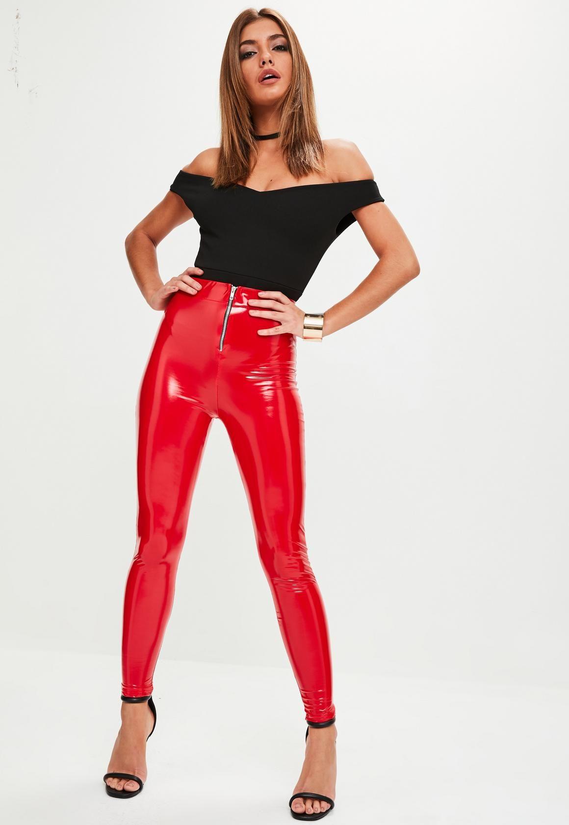 67076c3f7bfc1 Missguided - Red Vinyl Leggings | Vinyl | Vinyl leggings, Pants ...