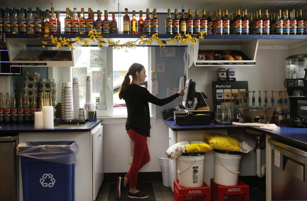 Coffee shop drive thru interior portlands aroma joes