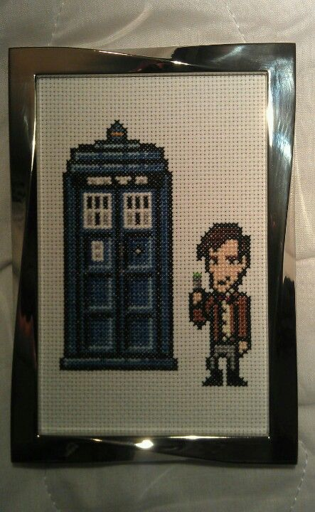 Cross Stitch of the tardis and Doctor Who (Matt Smith) made by my mate Ally :)