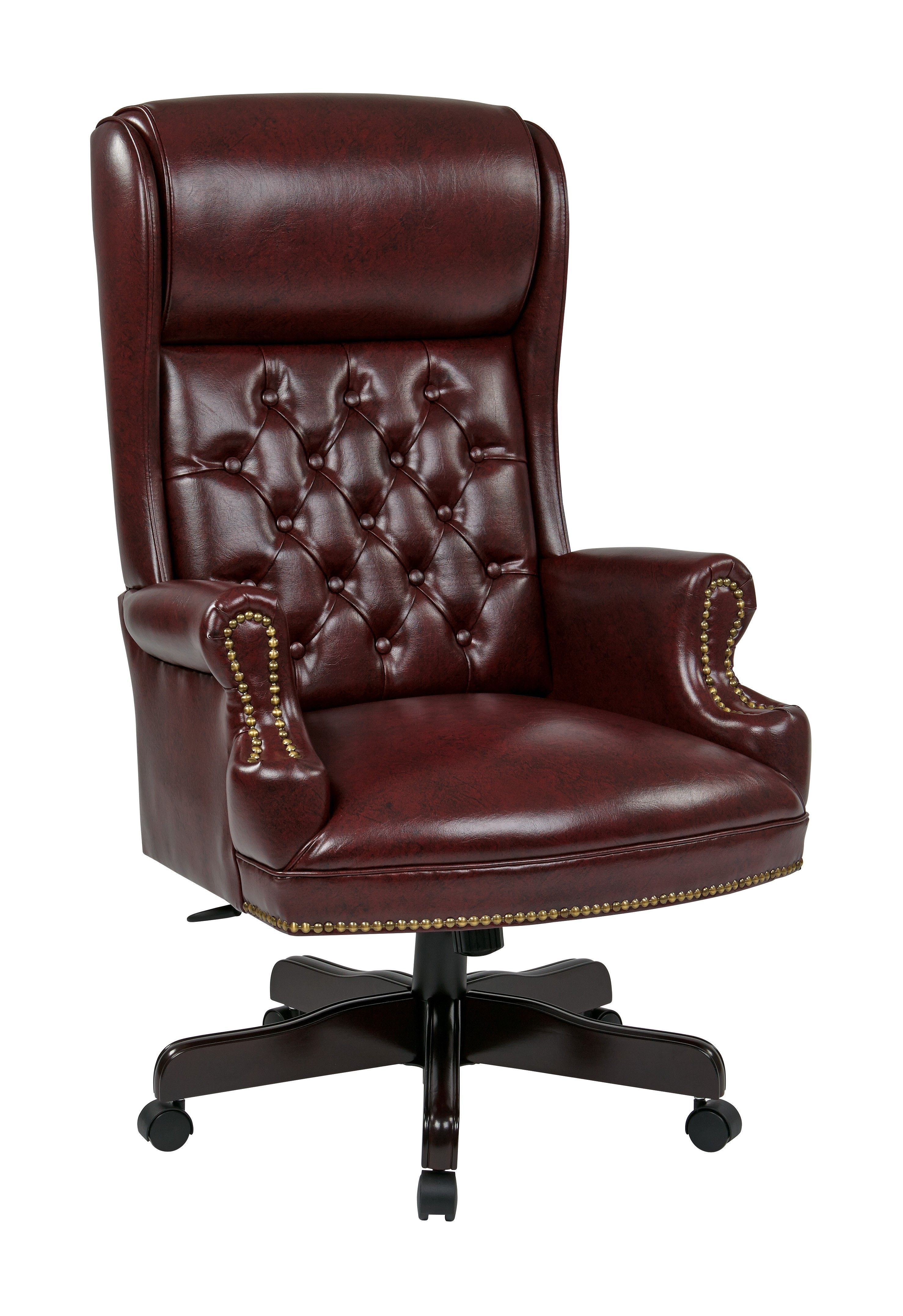 Office Star Jamestown Brown Tufted Deluxe High Back Traditional