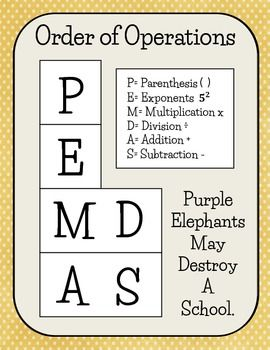 Here's a PEMDAS poster for order of operations.   Order of ...