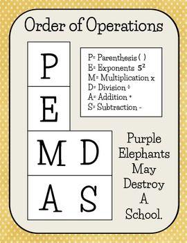 Pemdas Poster Order Of Operations Order Of Operations Math Homeschool Math