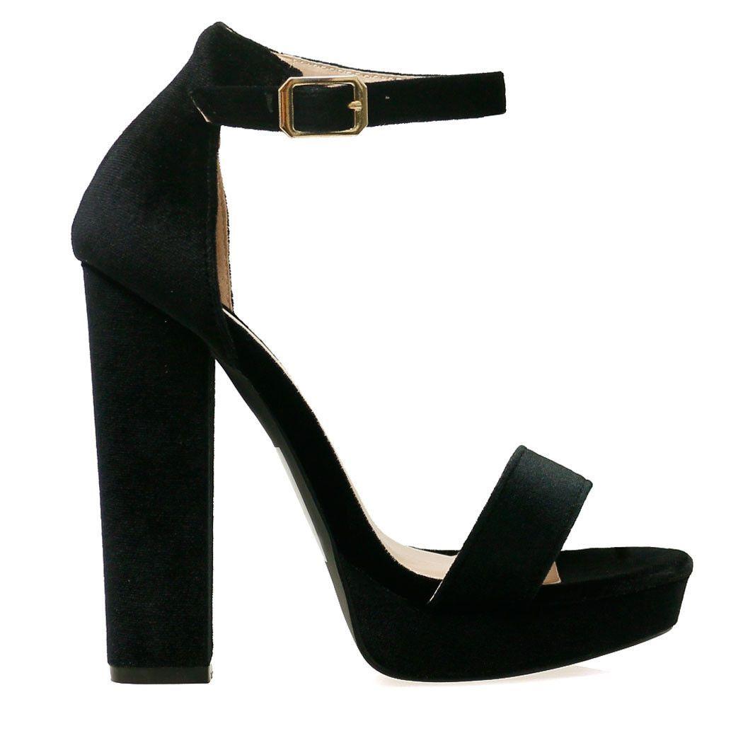 Lovato Black Velvet Style Platform Ankle Strap Chunky Heels | prom ...