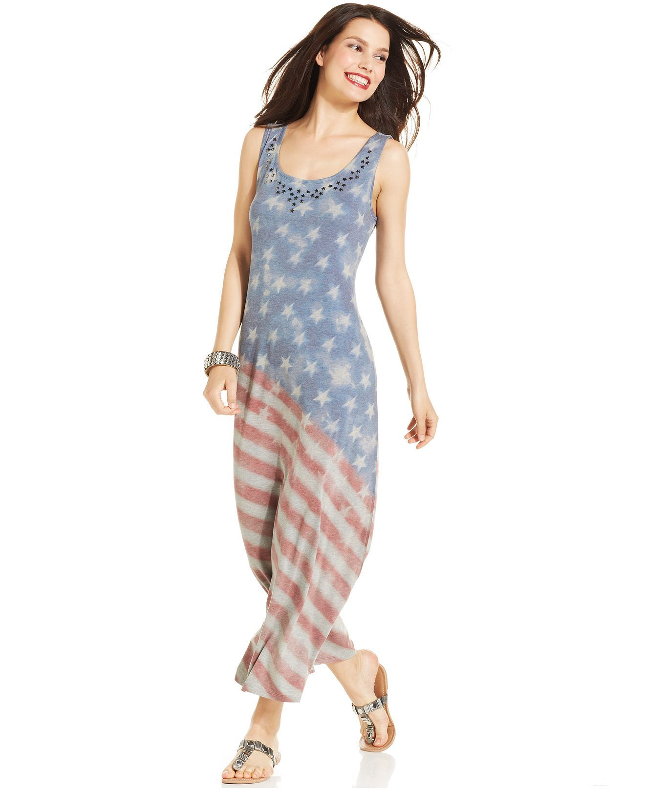 684009490 Style co. Studded Flag-Print Maxi Dress - Dresses - Women - Macy s ...