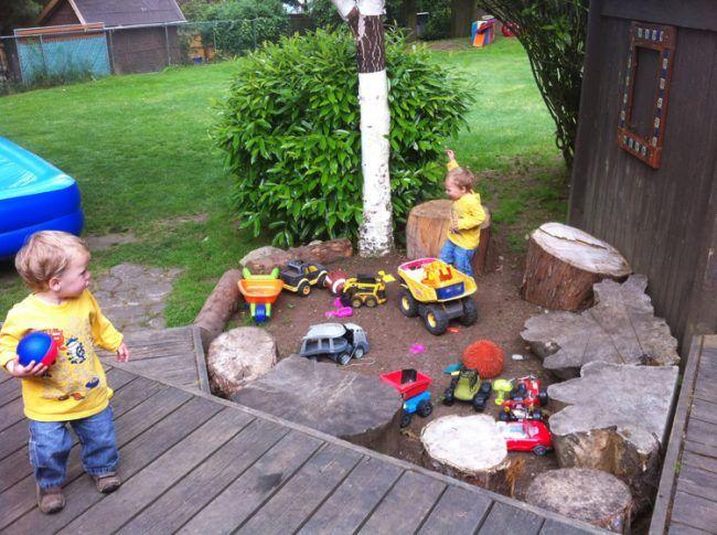 Spielecke Garten Kinder Gestalten Kleinkinder Holz Garage