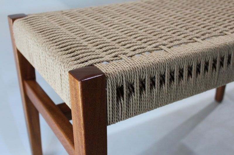 Laced Danish Cord Split Rail Bench Detail Weaving In