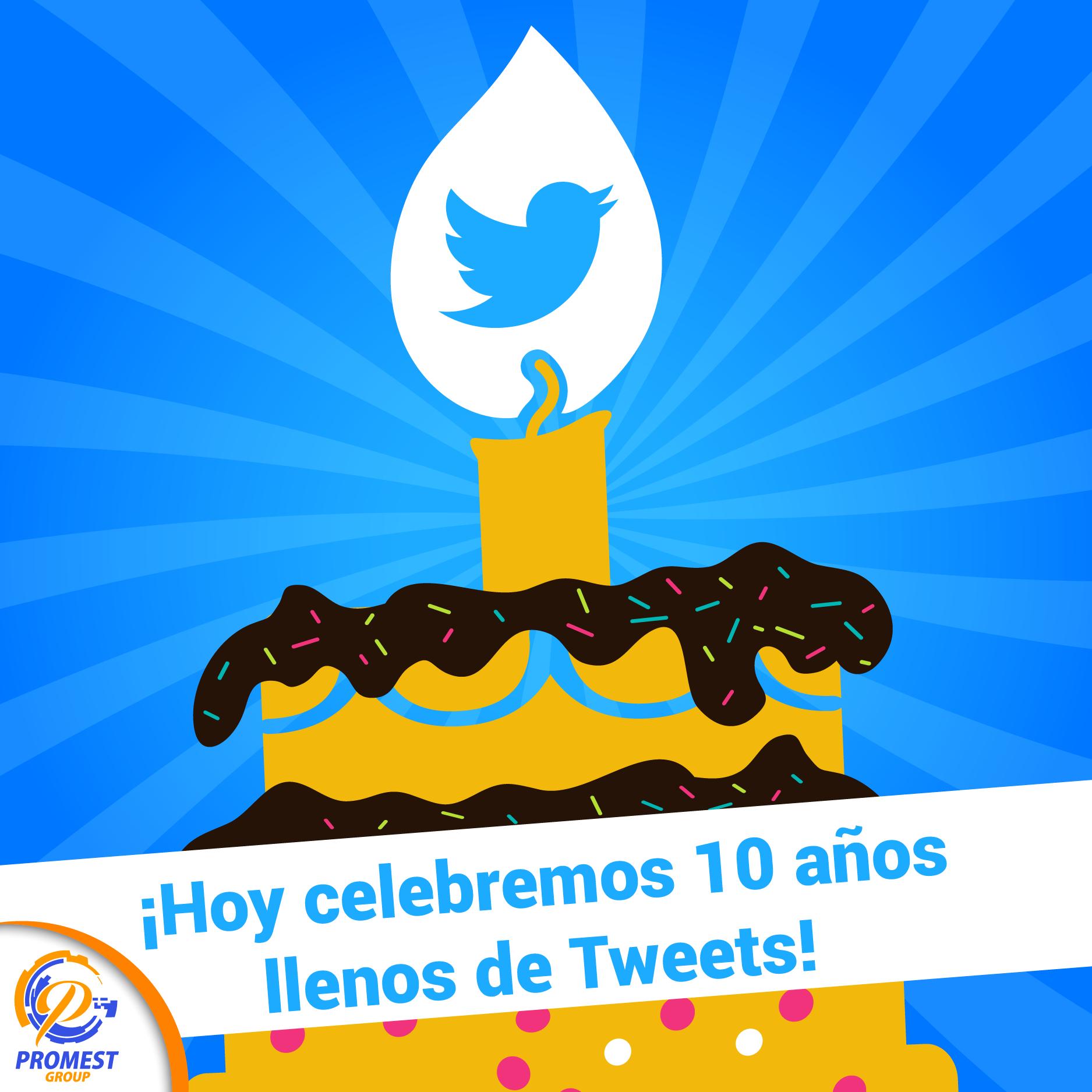 Hoy #twitter esta de #Aniversario y en Promest Group celebramos sus 10 años llenos de tweets!!! #siguenos en #twitter @PromestGroup