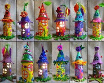 Photo of felted fairy house, toadstool, bedside lamp, night light, handmade, wool, felt, fairy light, Waldorf inspired, made to order