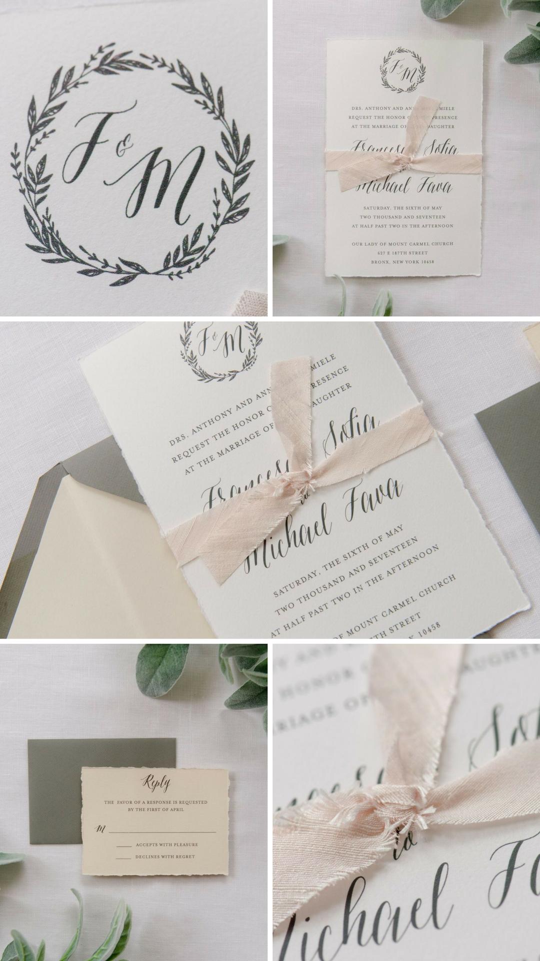 Ribbon and Monogram Wedding Invitation - Marie Wedding Invitation ...