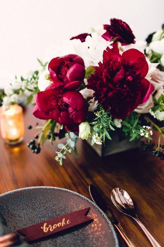 Hochzeit Tabelle mit weinrot Details Wedding