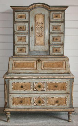 Gustavian Swedish Antique Painted Secretary Swedish Decor Painted Furniture Gustavian Furniture