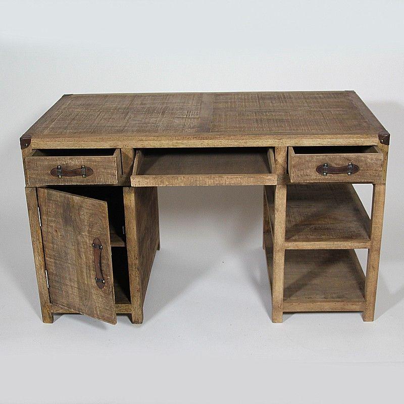 bureau explorer avec caisson tag res et tiroirs en manguier massif et poign es cuir http. Black Bedroom Furniture Sets. Home Design Ideas