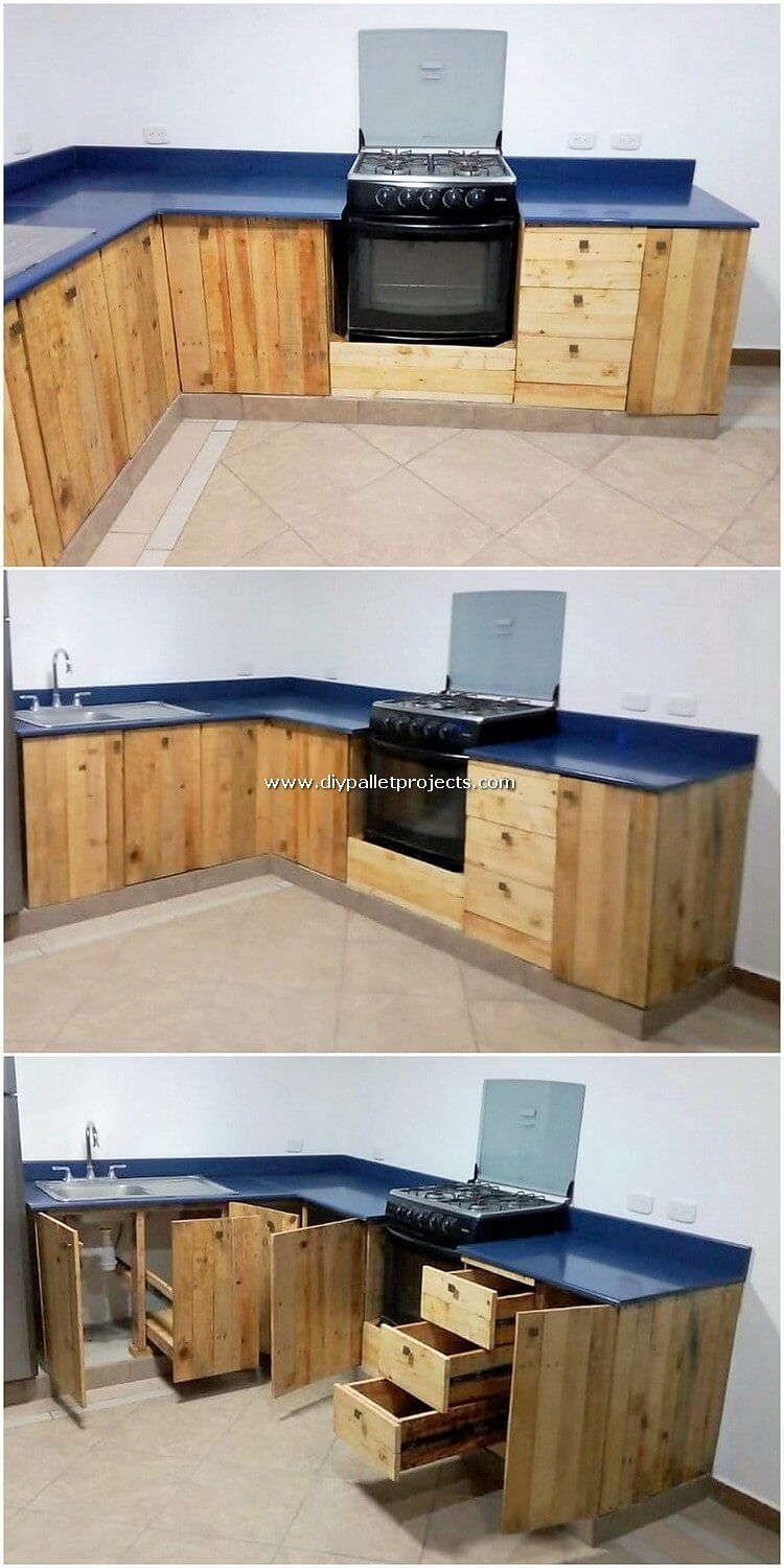 Straight Away Into This Wood Pallet Creation Of Ideal Kitchen Cabinets You Will View The Average Measurement Of Cabinet Des Pallet Pallet Kitchen Wood Pallets
