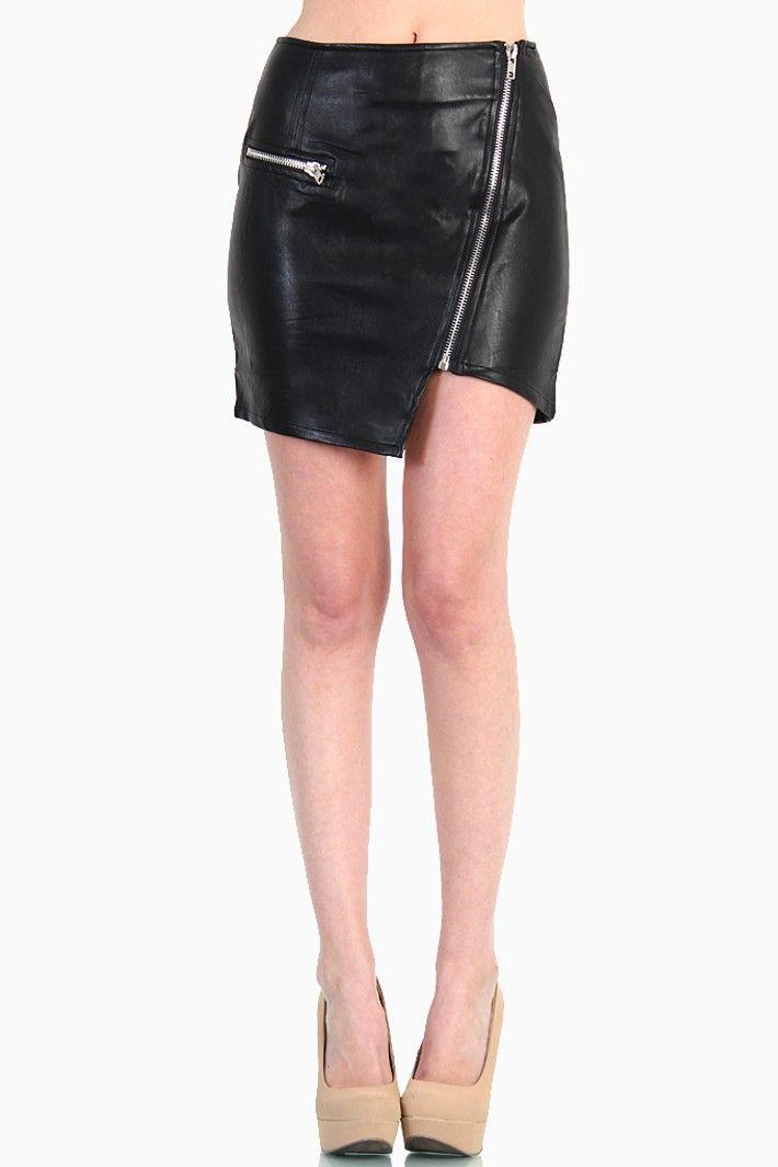 Asymmetrical Zipper Faux Leather Skirt - Black | LoveMelrose.com ...