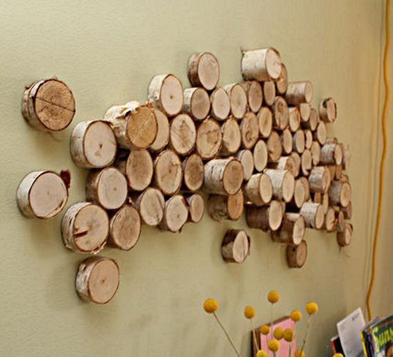 ideen für wandgestaltung mit rundholz als coole wanddeko ...