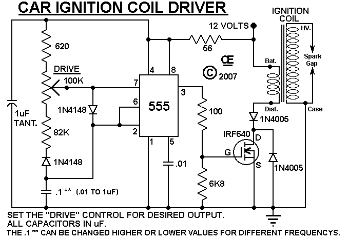 HV Ignition Coil Driver using 555 - schematic | Circuit ...