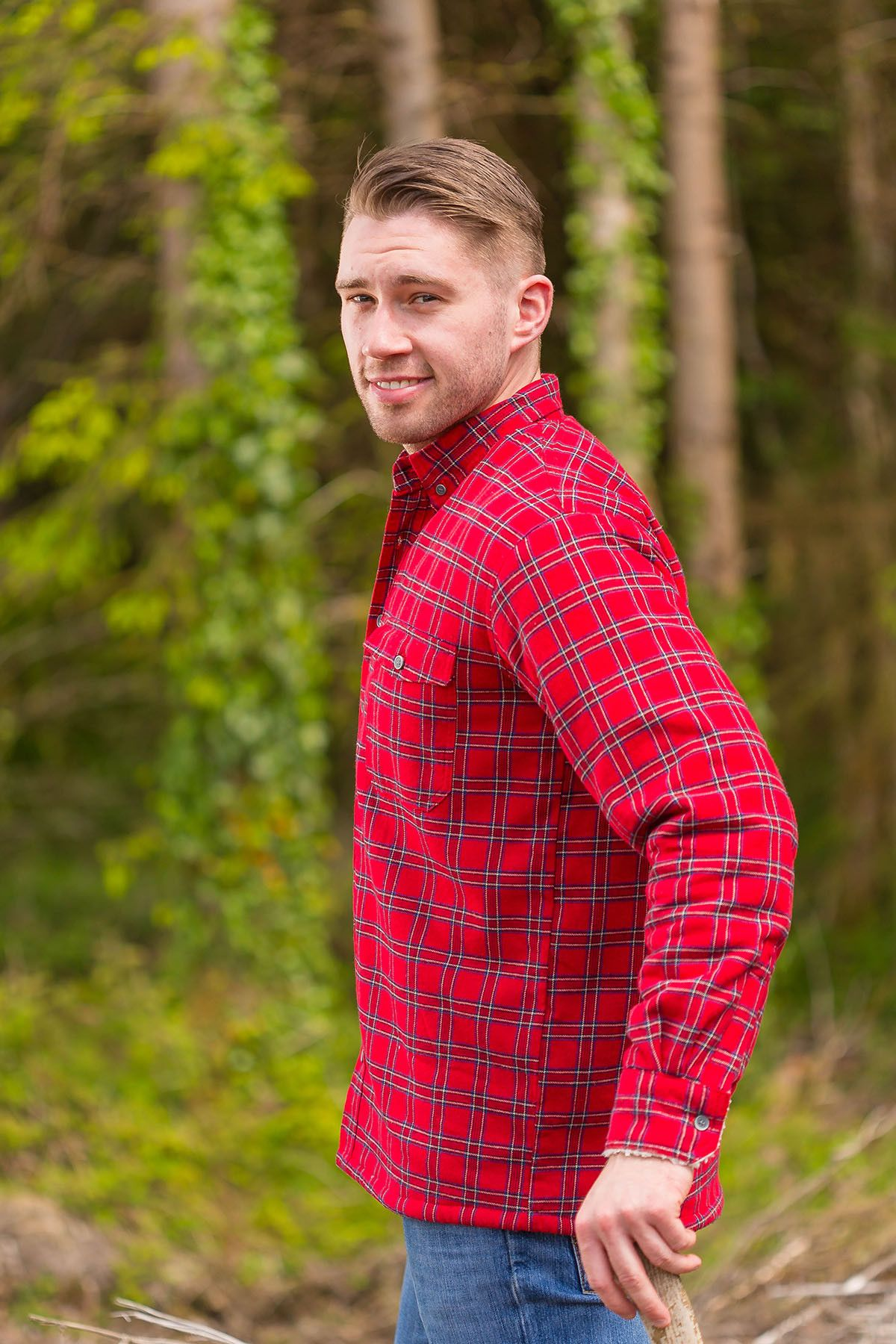 69b890b4 Collar Shirt Mens Cotton Flannel Red Tartan-Royal Stewart (LV27) #shopirish  #collarless #aranjumpers #irishshirts #granddadshirt #collarlessshirt ...