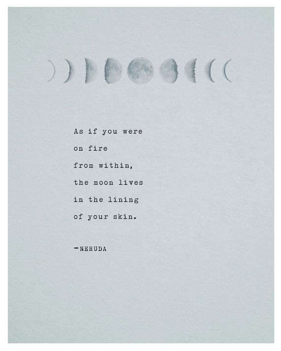 Pablo Neruda poetry art print moon quote poster by Riverwaystudios