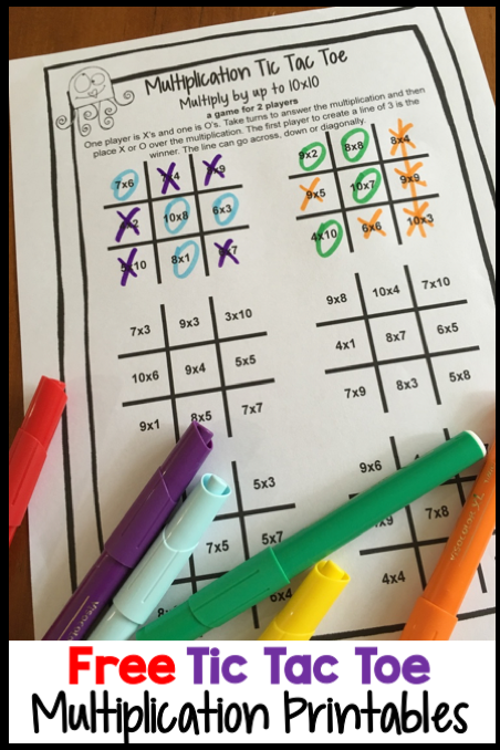 FREE Multiplication Printables - Play Multiplication Tic Tac Toe ...
