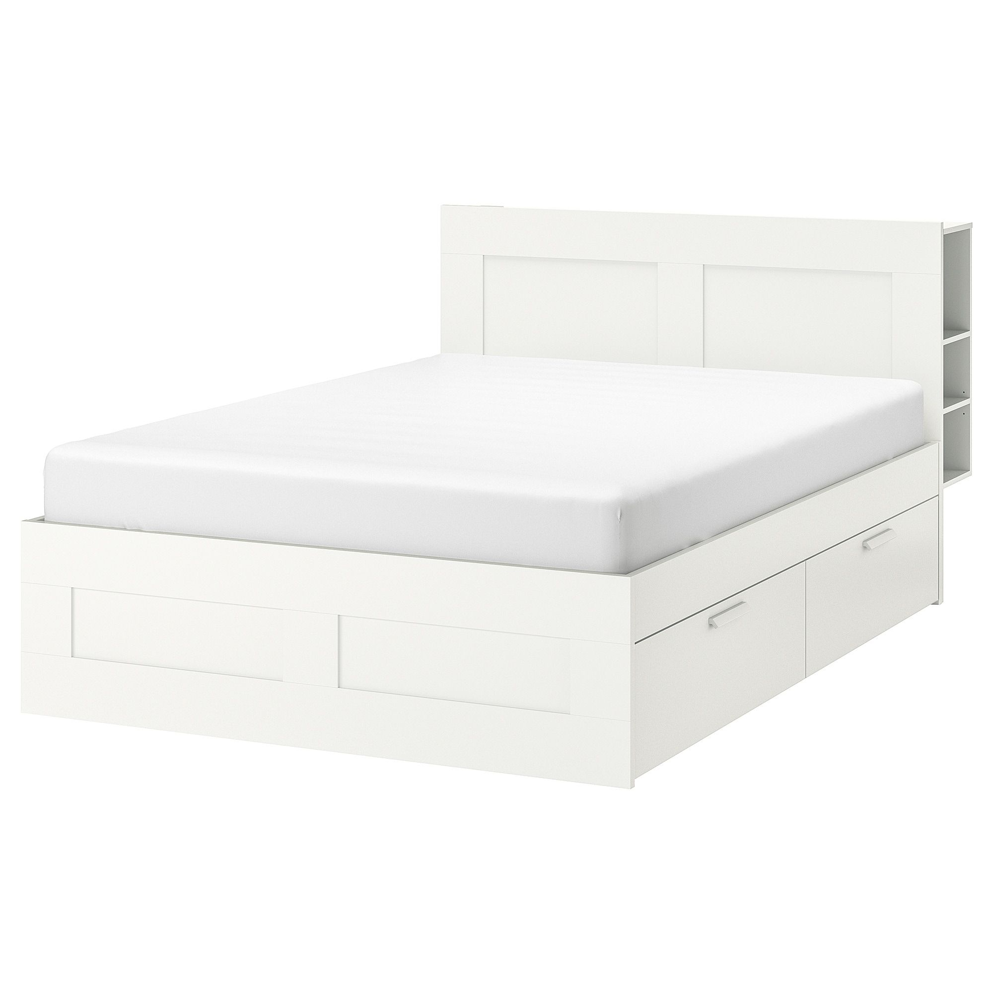 Brimnes Bed Frame With Storage Headboard White Lonset King