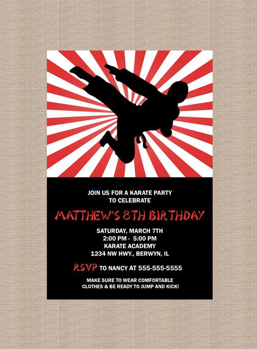 Karate Birthday Party Invitation Ninja Birthday by Honeyprint – Martial Arts Birthday Invitations