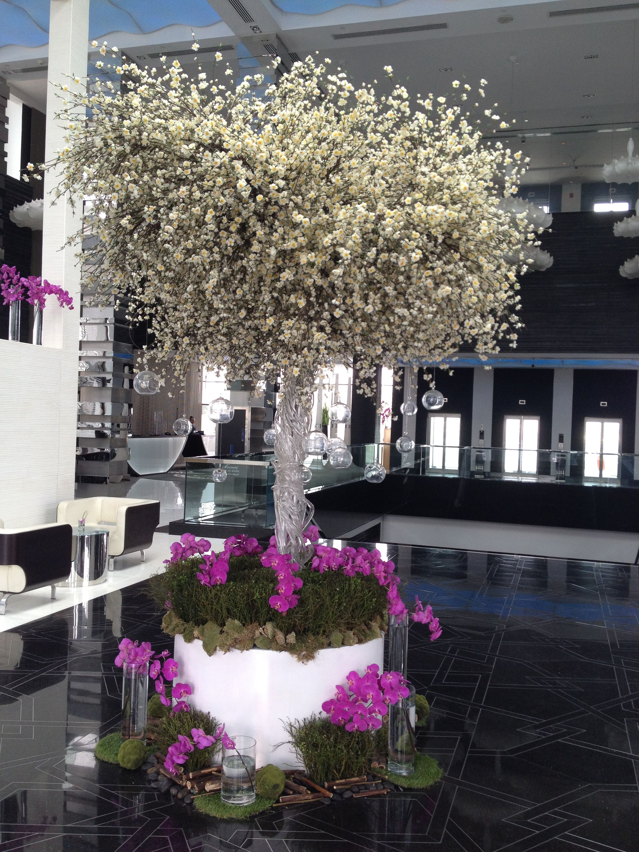 Hotel entrance decoration, hanging candles on a tree. Fairmont, Abu Dhabi