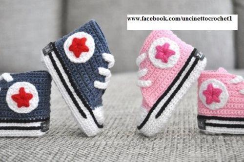 Scarpine Converse All Star Neonato Uncinetto Sneakers Regalo Bimbo